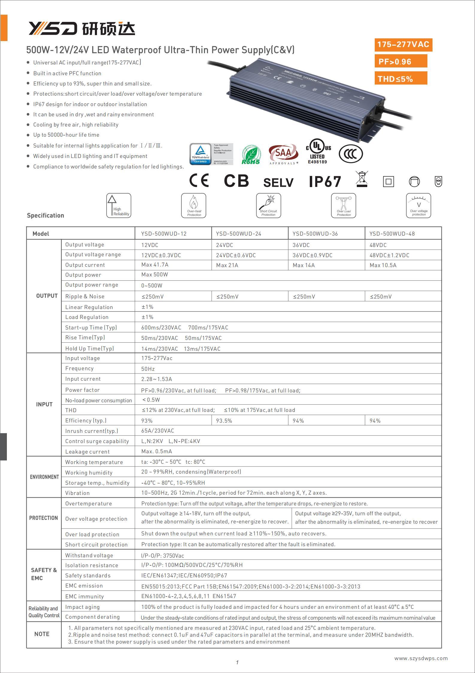 HOT YSD CV ultra slim 500W 12v 24v America Germany TUV U L EMC EMI CB led switching power supply led strip led driver specification 01