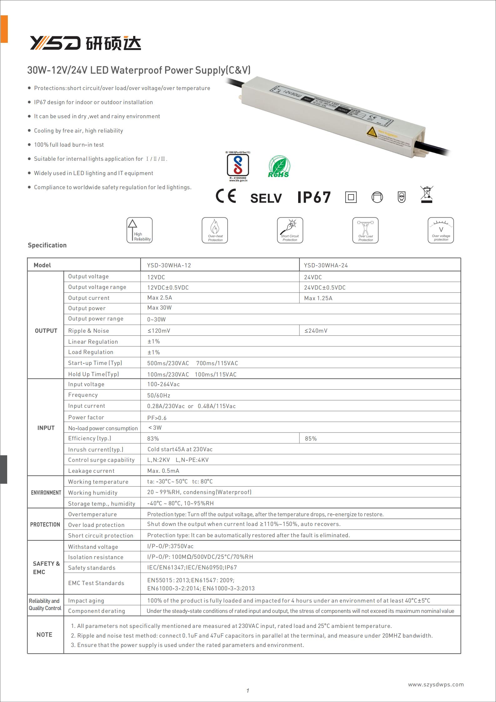 30w IP67 LED driver CE ROHS approved ac dc adapter 110/220v dc 12v 24v led power supply specification 01